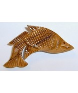 Vintage Hand Carved Wooden FISH Pin - $12.00