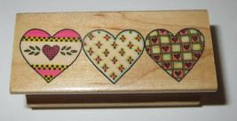 Country Heart Border Rubber Stamp Love Hearts Trio Retired All Night Media - $3.75