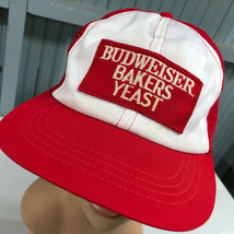 Budweiser Bakers Yeast VTG Made In USA Patched Snapback Beer Baseball Cap Hat - $22.86
