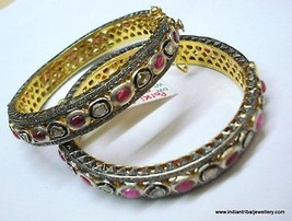 sterling silver gold vermeil gold gild bangle bracelet diamond ruby gems... - $1,484.01