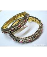 sterling silver gold vermeil gold gild bangle bracelet diamond ruby gems... - $1,484.01