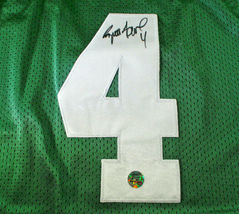BRETT FAVRE / HALL OF FAME / AUTOGRAPHED PACKERS THROWBACK JERSEY / FAVRE HOLO image 3