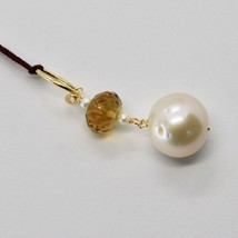 SOLID 18K YELLOW GOLD PENDANT WITH WHITE FW PEARL AND BEER QUARTZ MADE IN ITALY image 2