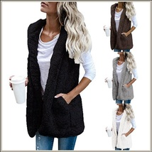 Soft Fleece Sherpa Sleeveless Hoodie Vest Front Zip Up In Four Colors