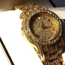 Mens Hip Hop Gold Plated Iced Out Pave Bling Rapper's Metal Band Watch - $24.74 CAD