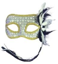Silver Venetian Style Mardi Gras Masquerade Mask w/RIBBONS,FEATHERS & Rhinestone - $13.91