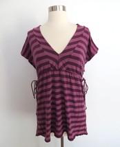 Anthropologie Ella Moss size SMALL purple striped print blouse top shirt - $29.98