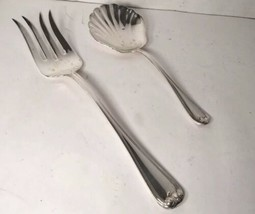 Vintage Gorham Heritage Silverplate Large Shell Berry Serving Spoon Serving Fork - $19.99
