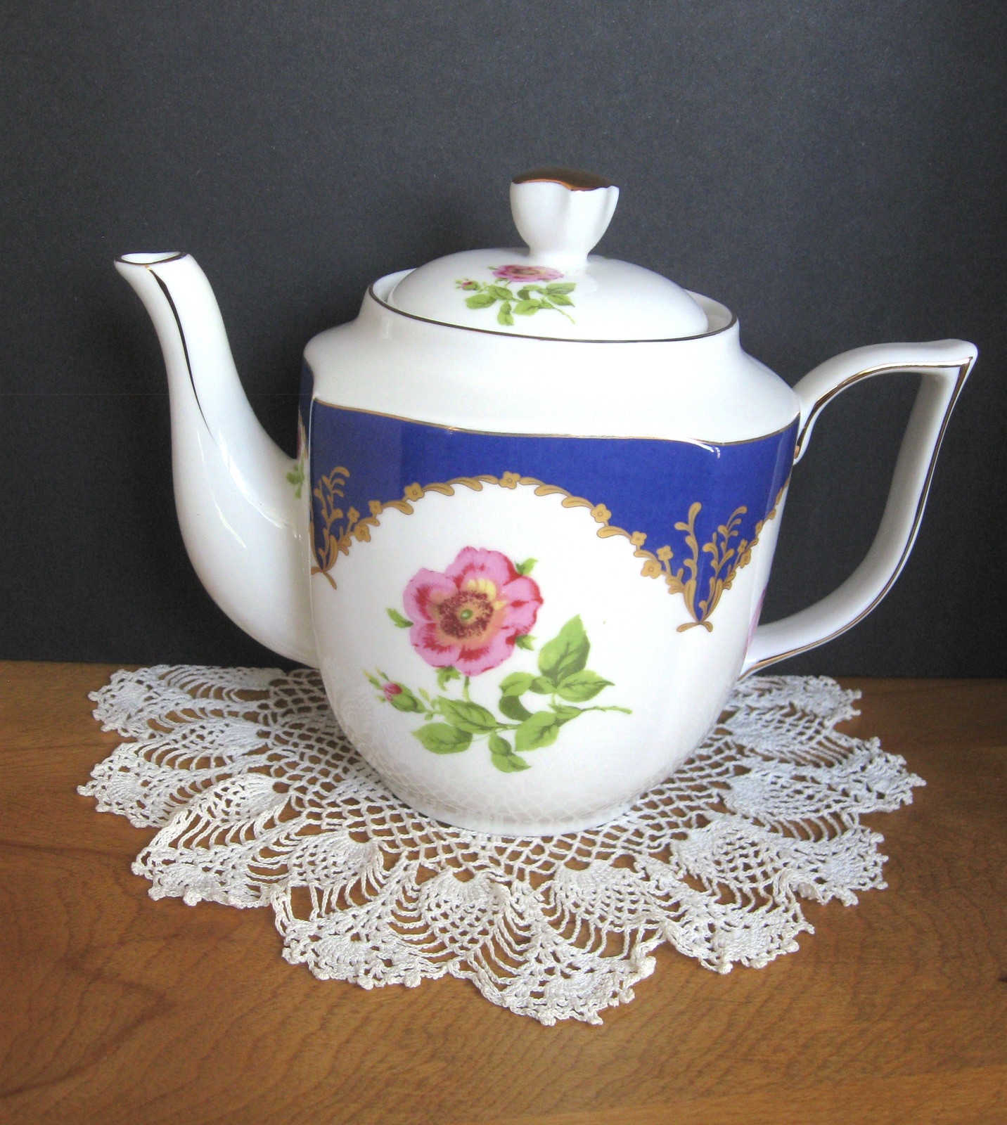 Floral Teapot - Pink Flowers with Blue Trim - Four (4) Available