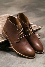 Handmade Men antique brown leather Chukka boots, Men leather casual boots - $169.99