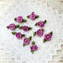 Tiny Mauve Roses (25/ 50 pcs), Satin Rose Buds, Mini Fabric Roses,Crafti... - $4.00