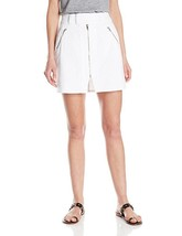 NWT 7 For All Mankind Seven 26 white denim mini skirt zippers short A-line - $87.29