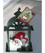 Hanging Bird Seed Feeder Garden Holiday Santa Hat Holly Metal Glass - $14.93
