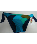 NEW SEXY LUCKY BRAND WOMEN'S BASIC FIT BIKINI BOTTOM PATCHWORK BLUE SMALL - $24.74