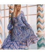 Boho Long Sleeve Floral Print Dress - $89.95