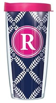 "Navy Royal Diamonds Letter ""R"" On Wrap Pink Initial 22 Oz Super Traveler... - $18.95"