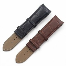 Men's Watch Leather Strap QUALITY solid Black Brown Wristwatch 22mm Wris... - $23.99