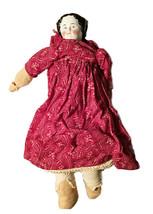 Vintage Soft Body Rag Doll Porcelain Blush Face Maroon Floral Dress Blac... - $54.44
