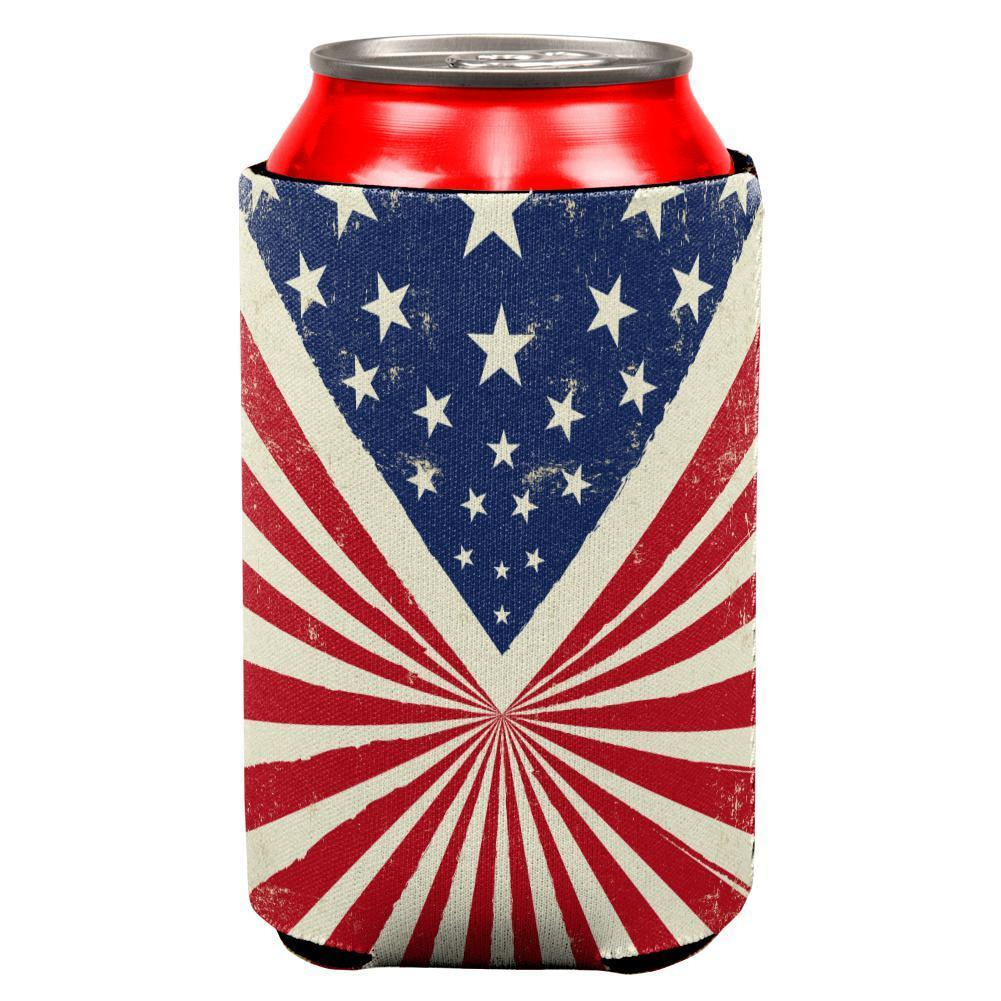 4th of July Star Burst American Flag All Over Can Cooler