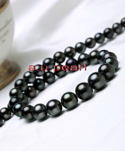 """top luster 18""""10-11mm natural real round TAHITIAN black pearl necklace 1... - $677.95"""