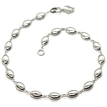 Bracelet White Gold 18K 750, Bean of Rice, Ovals Pantry, Polished, 19.5 CM - $565.60