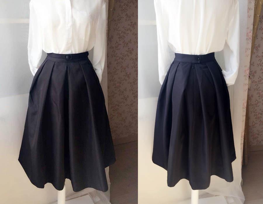 Elegant Black Taffeta Pleated Skirts Tea length Black Tea Skirts High Waist NWT