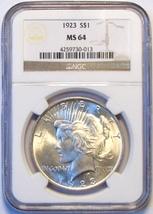 1923 NGC Peace Silver Dollar. MS64. MG17. - $64.00