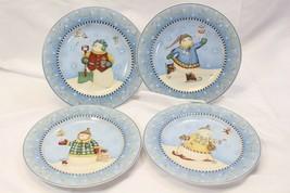 """Sakura Snow Fairies Xmas Salad Plates 8"""" Lot of 8 Debbie Mumm - $42.13"""