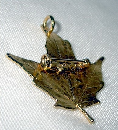 j103 Maple Leaf Gold Gilt Pin Brooch Pendant combo
