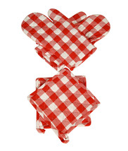 Oven Mitts & Pot Holders Checkered Red & White  4 pcs - $14.89
