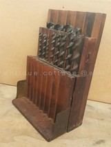 antique CRAFTSMAN AUGER DRILL BITS tool WOOD BOX ornate BRASS HINGES 13pc  - $124.95