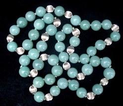 "Vintage 34"" Jade & 14K Gold Spacer Bead Necklace Jadeite  - $350.00"
