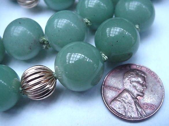 "Vintage 34"" Jade & 14K Gold Spacer Bead Necklace Jadeite"