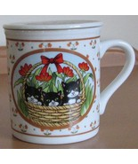 Tea Coffee Mug and Lid Japan Cats Kittens Basket Ceramic Cup Giftcraft U... - $11.93