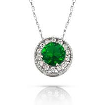 1.90Ct White Sapphire & Emerald Round Halo Charm Pendant 14K W Gold  w/ ... - $60.27+