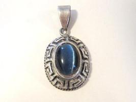 Vintage sterling silver Blue Cat's Eye pendant - $35.00