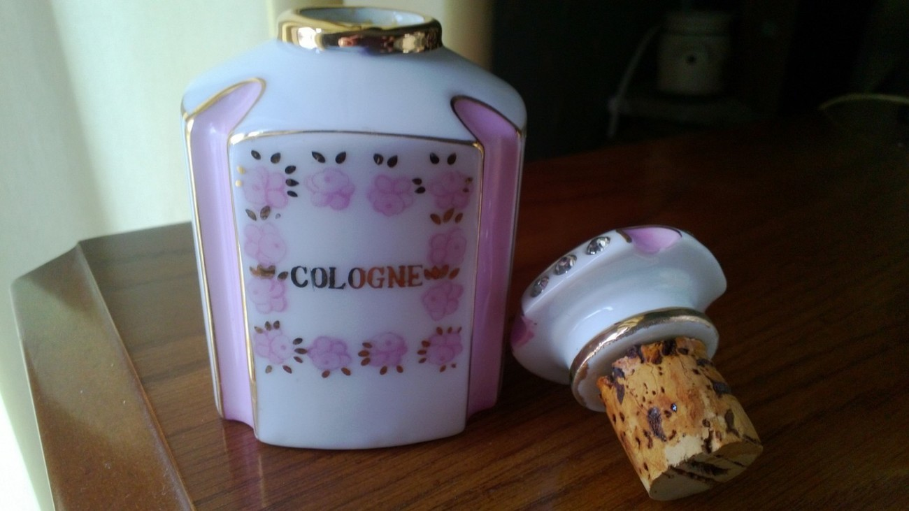 Vintage Japan Cologne Bottle with Rhinestones