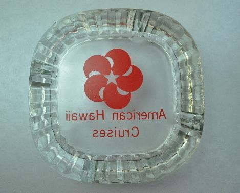 American Hawaii Cruises clear glass ashtray Red logo