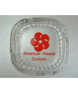 American Hawaii Cruises clear glass ashtray Red logo - $7.00