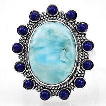 Larimar(Dominican Republic) 925 Sterling Silver Ring Jewelry s.7.5 SDR7923 - $34.38
