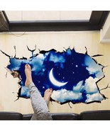 3D Wall Sticker Outer Space Moon Stars Planet Removable Room Mural Stickers - £9.76 GBP