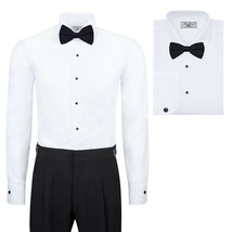 Boltini Italy Men's Premium Tuxedo Lay Down Collar Dress Shirt with Bow Tie