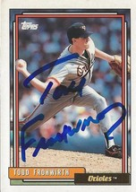 Todd Frohwirth 1992 Topps Autograph #158 Orioles - $27.93