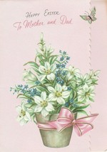 Vintage Easter Card Basket of Lilies Butterfly Gibson Embossed Mother an... - $7.91