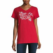 NWT $22 st. john's bay  cotton  blend red AMERICA  top tall medium - $17.81