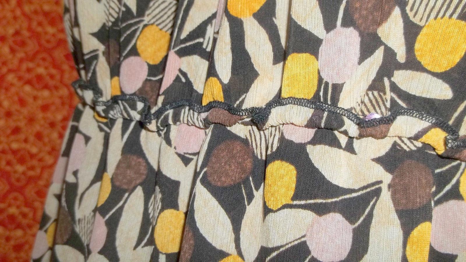 I.E. PETITE brown abstract  silk spaghetti strap blouse PM (T22-01C8G)