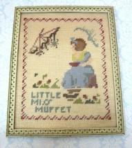"Vintage Framed Needlepoint Little Miss Muffet w Spider 9 3/4 x 7 3/4 "" N... - $29.69"