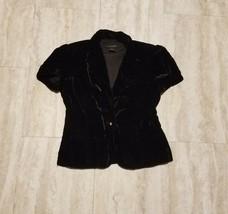 Women's Calvin Klein Velveteen Blazer Top ~ Sz M ~ Black ~ Faux Diamond ... - $24.25