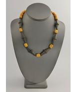 "18""  VINTAGE Jewelry AMBER EGG YOLK BEAD & METAL BOHO TRIBAL NECKLACE 38g - $85.00"