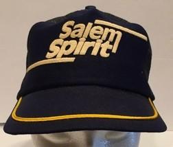 Vtg Salem Spirit Snapback Mesh Trucker Hat Cap USA Made Blue Yellow Ciga... - $23.36